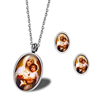Burenqi Religious Holy Virgen Mary And Baby Jesus Family Pendant Earrings Jewelry Set In Stainless Steel,Silver