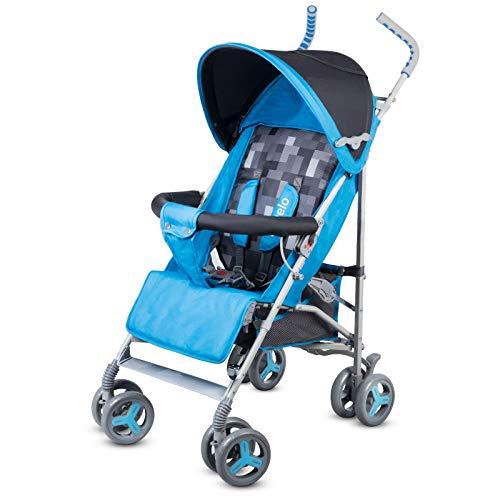 Lionelo Elia Buggy klein zusammenklappbar Kinderwagen, ab 6 Monaten bis 15 kg belastbar, Moskitonetz, Fußdecke, Regenschutz (Blau)