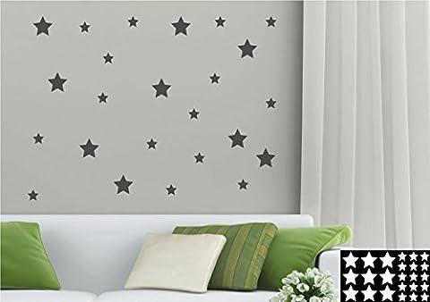 kleb-drauf® - 24 Sterne / Grau - matt - Aufkleber