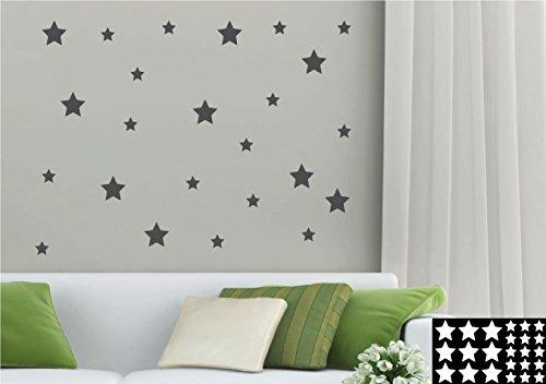 kleb-drauf® - 24 Sterne / Grau - matt - Aufkleber zur Dekoration von Wänden, Glas, Fliesen und allen anderen glatten Oberflächen im Innenbereich; aus 19 Farben wählbar; in matt oder glänzend (Glas-wand-dekorationen)