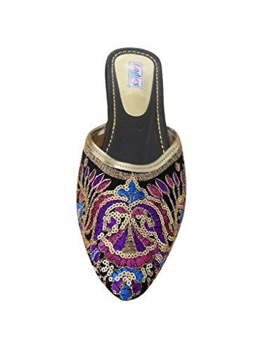 kalra Creations Chaussures de Fête en velours Chaussons Indiens traditionnels pour femme Noir