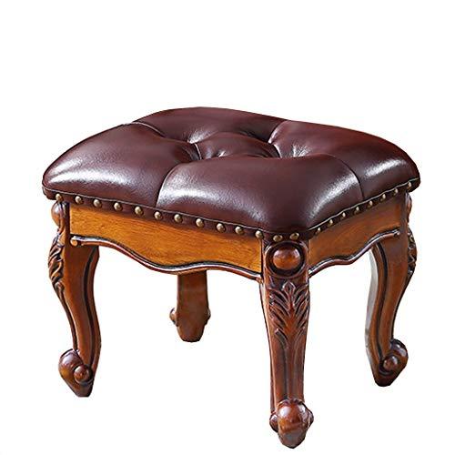 LH-Sonnenliege Amerikanischer Hocker, Couchtisch Hocker, Wohnzimmer Sofa Massivholz Schuh Hocker gepolstertes Leder, Queen Anne Beine 36,5 × 30 × 30 cm (Farbe : Braun) -