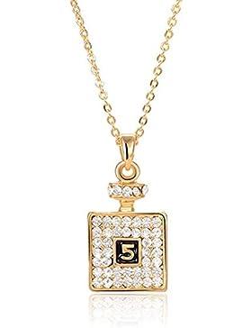 2LIVEfor Kette mit Anhänger Flasche Flacon Glitzer Silber Halskette Quadratisch mit Österreichischen Kristallen...