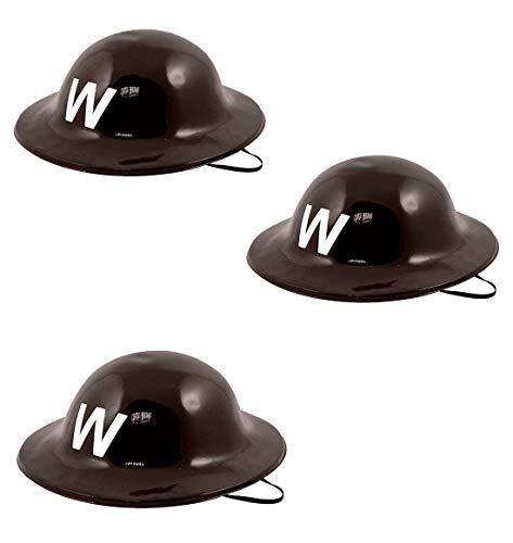 Hi Fashionz WWII 40er Jahre schwarzer Kunststoff Luftschutzw�chter Helm Party Kost�m Zubeh�r eine Gr��e Packung mit 3