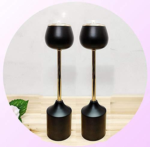GHDTGS Metal Pillar Candle Holder 2er Set Home Decor Teelicht Kerzenständer Schwarz/Gold Dekoration Mittelstücke,2pcs29CM