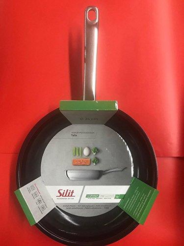 Silit Talis Bratpfanne, Ø 24 cm, Edelstahl beschichtet Pfanne mit Stiel, Induktion, backofengeeignet, PTFE-PFOA frei