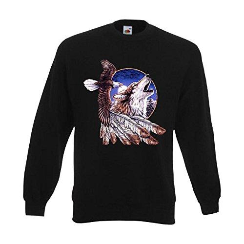 Sweatshirt Eagle and Wulf, american style Sweat Indianer Motiv mit Adler Wolf und Federschmuck, Pullover große Größen (AIM00135) L American Eagle Sweatshirt