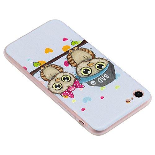 Cover iphone 7 / iphone 8 , iphone 7 / iphone 8 custodia , Cozy Hut iphone 7 / iphone 8 cover Morbido TPU Custodia [Ultra sottile] [Leggera] [Assorbimento-Urto] Paraurti in TPU Morbida Protettiva Case Coppie gufo