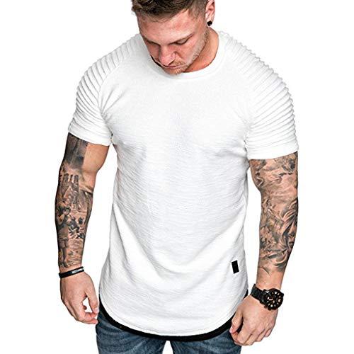 Aiserkly Fashion Herren Sommer Falten Slim Fit Raglan Kurzarm Muster Top Bluse Weiß L -