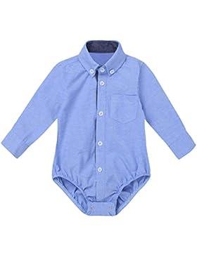 Tiaobug Baby Hemd-Body Langarm mit Kragen Strampler Baby-Jungen Hemd festlich Bodysuit Anzug Hemd für Hochzeit...