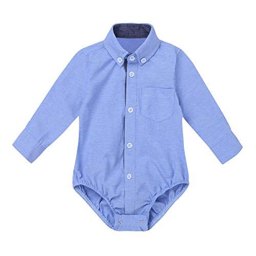 Kragen-denim-hemd (iEFiEL Baby Jungen Hemdbody mit Kragen und Fliege Langarm/Kurzarm Bodysuit Baumwolle Strampler Weiß Hemd Bluse für Kleinkinder (62, X Denim Blau))