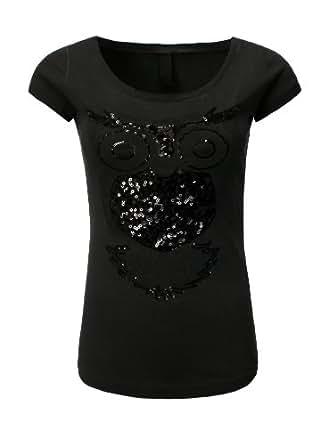 T-Shirt Shirt Fresh Made Damen Pailletten Eule Rundhals