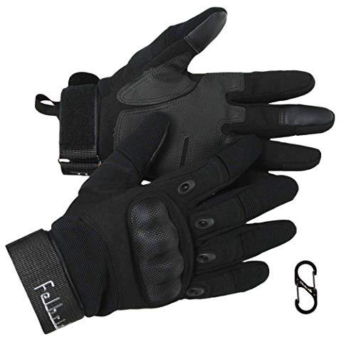 ForceOne Taktischer Mehrzweck Handschuh & Karabiner Handschuhhalter | Für Militärsport Motorrad Airsoft Paintball Armee & Fahrrad | Gepanzerter Gummi Handschuh mit hartem Knöchelschutz