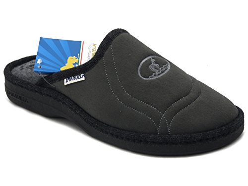 Emanuela, ciabatta/pantofola uomo in caldo tessuto alcantara colore grigio, sottopiede imbottito e suola in gomma antiscivolo, 1100 i16
