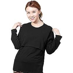 Koly Ropa de maternidad embarazada lactancia camiseta de manga larga lactancia tapas (L, Negro)