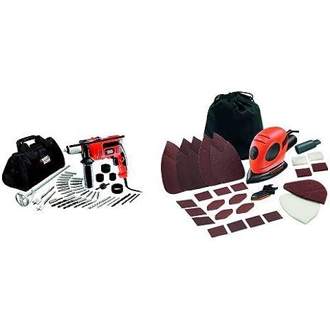 Black and Decker CD714CREW2-QS - 1Taladro percutor de 710W con 40 accesorios y bolsa de almacenaje. + KA161BC-QS - Lijadora de detalles (55 w, 230
