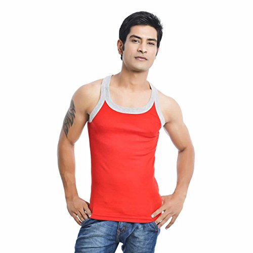 EURO Men's Cotton Vest (Pack Of 1) (GYM-GREY-RED) (Size:XXXX-Large)  available at amazon for Rs.279
