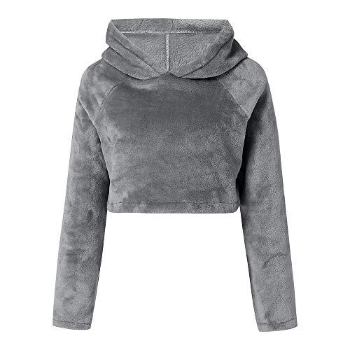 Hoodie-pullover Liusdh Mode lässig Langarm einfarbig Plüsch Hoodies Pullover Sweatshirts Pullover Tops Bluse für Damen(Gray,S) -