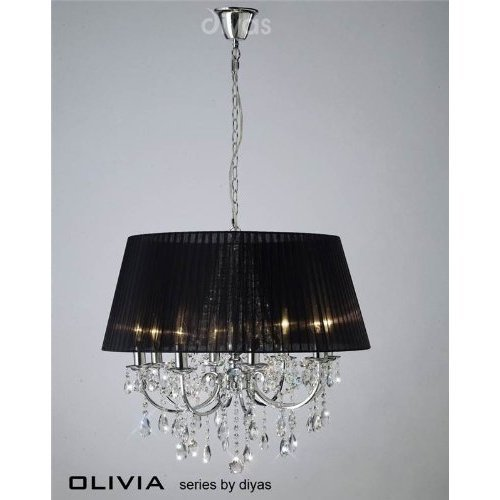 olivia-pendant-8-light-polished-chrome-crystal-with-black-shade
