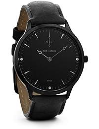 Nick Cabana Nilaya pistola de color negro reloj de pulsera de piel de color negro de la correa