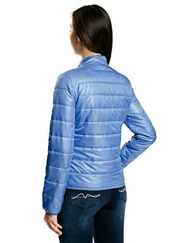 oodji Ultra Damen Steppjacke mit Stehkragen Blau (7500N)