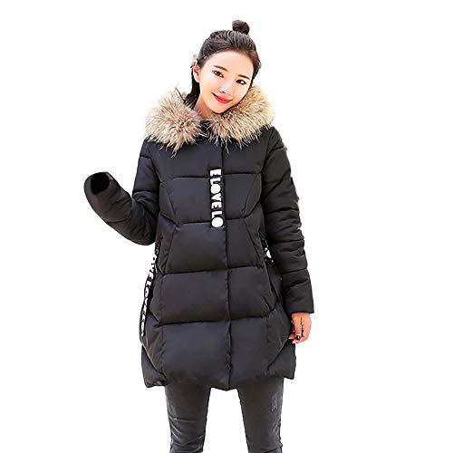 Kapuzenmantel MYMYG Damen Mantel Wintermantel Winterparka Jacke Lang Steppmantel Baumwolle Tasche Lange Kapuzenjacke Warmer Steppjacke (Schwarz,EU:42/CN-2XL)