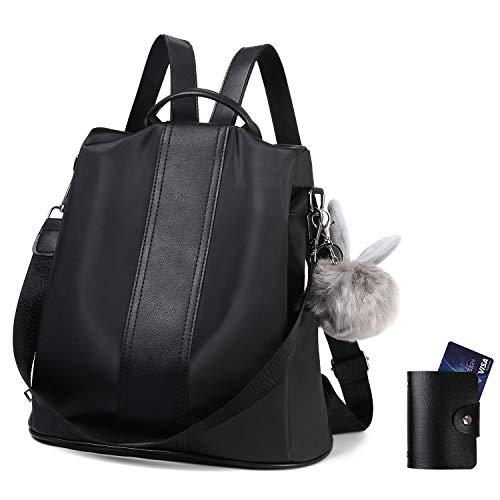 flintronic® Damenrucksack, Diebstahlsichere Taschen, wasserdichte Schultaschen aus Nylon, Leichte Schultertasche, Damenmode-Rucksack (Einschließlich Plüschball, Kreditkarteninhaber) - Schwarz