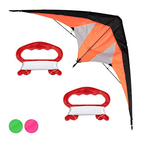Relaxdays Lenkdrachen, Zweileiner für Kinder und Erwachsene, Drachen für Anfänger, Schnur 30 m, Kite 114x49 cm, orange