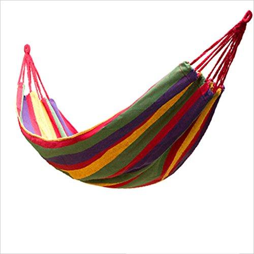 Handgefertigte Einzel - (JGWHW Extra große brasilianische Maya-Hängematte - Tragbare Einzel- oder Doppelhängematte - Handgefertigt aus 100% weicher Baumwolle (Tropical Multicolor) (Farbe : Rot))