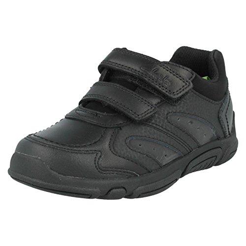 Clarks L'école Jack Spark Inf garçons Casual chaussure en cuir noir Noir - noir