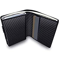 Credit Card Holder RFID Blocking Wallet Slim Wallet PU Leather Vintage Aluminum Business Card Holder Automatic Pop-up Card Case Wallet Security Travel Wallet (Eyuwen Black)