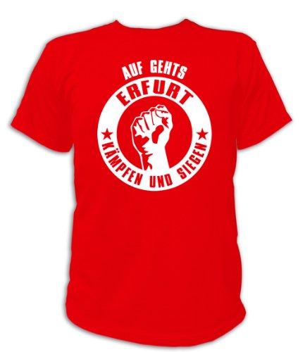 Artdiktat T-Shirt Auf geht´s Erfurt kämpfen und siegen Unisex, Größe XXXL, rot