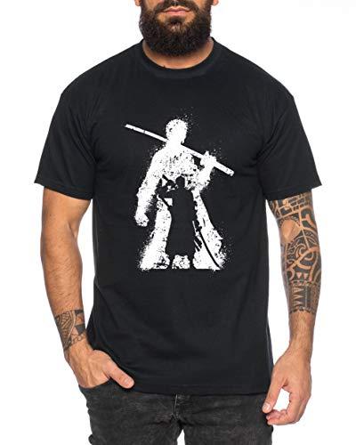 Zorro Bruch One Manga Herren Ruffy T-Shirt Anime Piece, Farbe:Schwarz, Größe:L (T-shirt Nico)