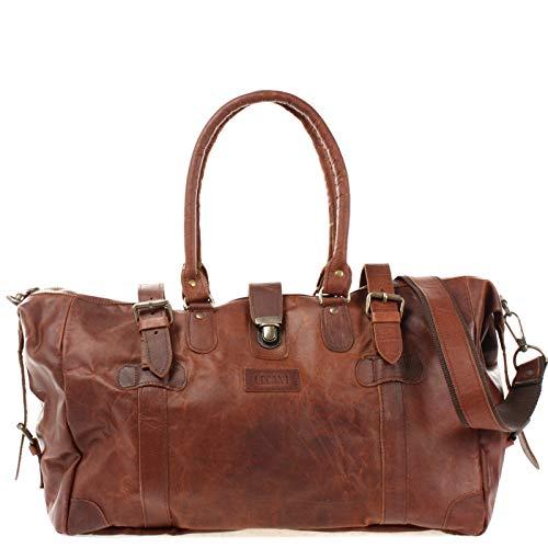 53759c106c812 LECONI Shopper aus Leder im Vintage-Look kleiner Weekender Handgepäck Reisetasche  Sporttasche Fitnesstasche Unisex für Damen + Herren 45x30x20cm braun ...