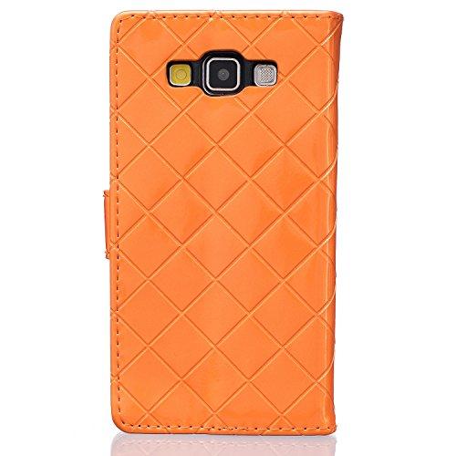 Samsung Galaxy A3 A5 A310(2016) A510 Case,mode, Gitterförmige Muster Glatte Oberfläche Design Folio Pu Ledergeldbeutel Fall Decken Mit Stehen / Card Slot Für Samsung Galaxy A3, A5 A310(2016) A510 ( Co Orange