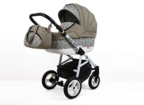 Kinderwagen BABYLUX ALU WAY KHAKI, 3 in 1- Set Wanne Buggy Babyschale,Muffe