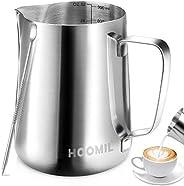HOOMIL Milk Frothing Jug 350ml/600ml/900ml (12oz/20oz/32oz) Stainless Steel Milk Pitcher Cup Barista Milk Jug