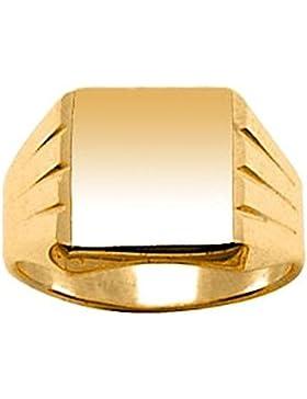 So Chic Schmuck - Siegelring Ring Fingerring Quadrat Gerillte Seiten Vermeil (Silber 925 mit Goldüberzug 750)...