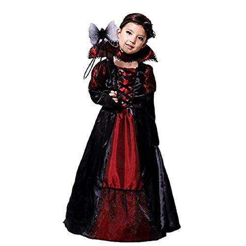 Amurleopard Kinder Kostüm für Mädchen Schwarz Königin M(Körpergröße:110-120 cm) (Kinder Kostüm Böse Königin)