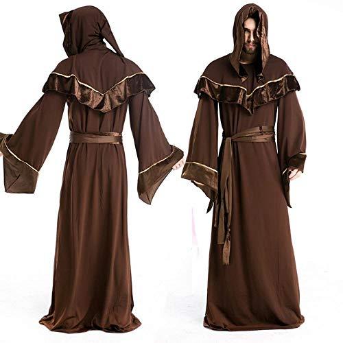 C.N. Costumi da Uomo di Halloween Maghi Gotici Ruolo Maschile di Religioso Europeo Riproduzione di Costumi da Pastore,Marrone,Taglia Unica
