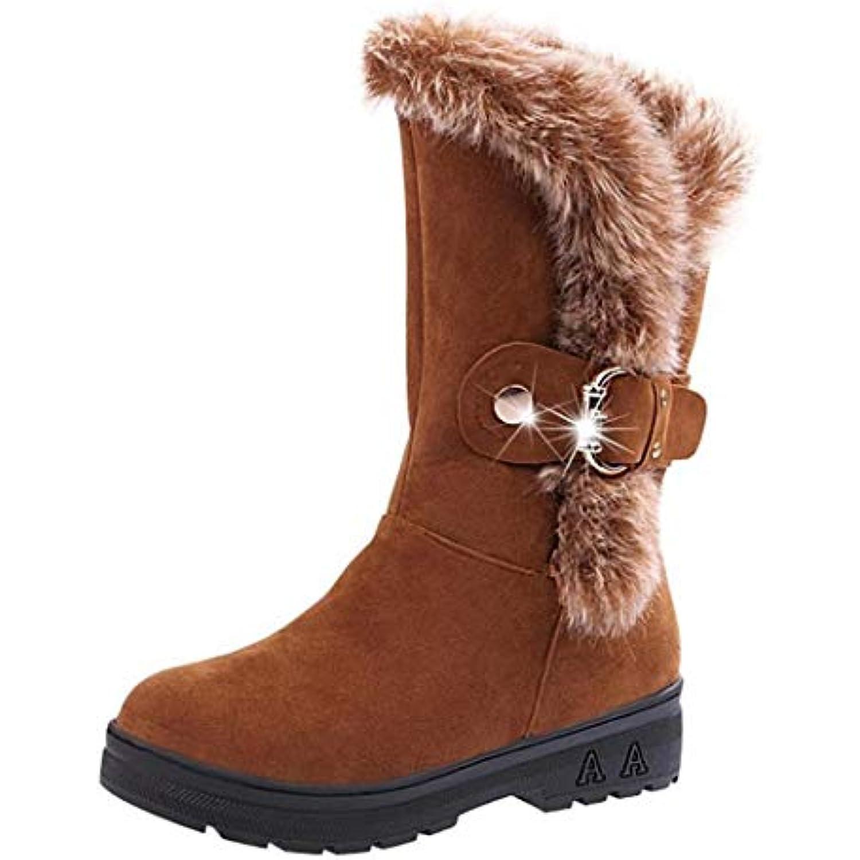 Keptei Femmes Hiver Bottes de Neige Velours Longues Bottes Chaudes Talon Tube Bottes Hautes Chaussures Plat Talon Chaudes Bottillon... - B07JY6V1HL - 930d86