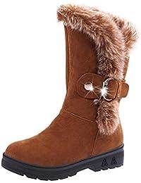 e7b4db5c2b80e Keptei Femmes Hiver Bottes de Neige Velours Longues Bottes Chaudes Tube  Bottes Hautes Chaussures Plat Talon