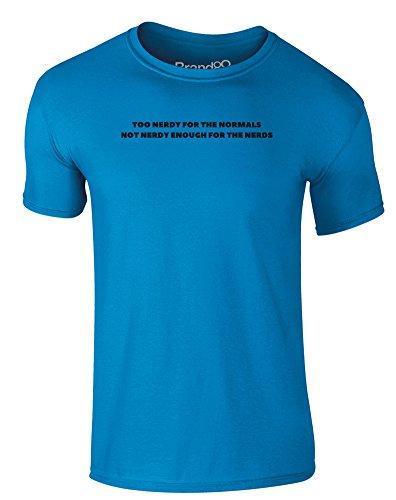 Brand88 - Not Nerdy Enough, Erwachsene Gedrucktes T-Shirt Azurblau/Schwarz