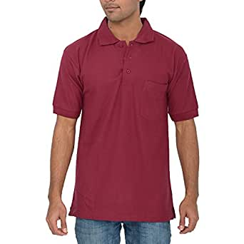 Comfort Plus Men's Casual Collar T Shirt With Pocket ( Maroon )