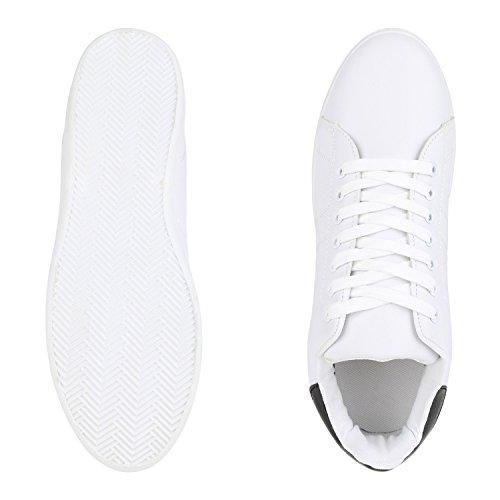 best-boots Damen High-Top Sneaker Schnürer Slipper Halbschuhe Sportlich Schwarz Schwarz Weiss Nuovo
