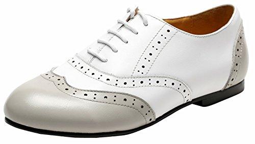 eder Mehrfarbige Ultra-Light Comfort Flat Oxford Schuhe, Casual Frühlingsschuhe Sommerschuhe Weiß-Grau39 (Fünfziger Jahre Schuhe)