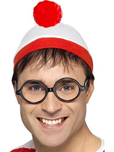 Fancy Ole - Kostüm Accessoires Zubehör Herren Männer Wo ist Walter Where is Wally Kit mit Hut & Brille, perfekt für Karneval, Fasching und Fastnacht, Rot