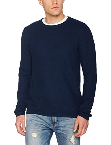 TOM TAILOR Herren Sweatshirt Basic Crew Neck Sweater Blau (Knitted Navy 6800)