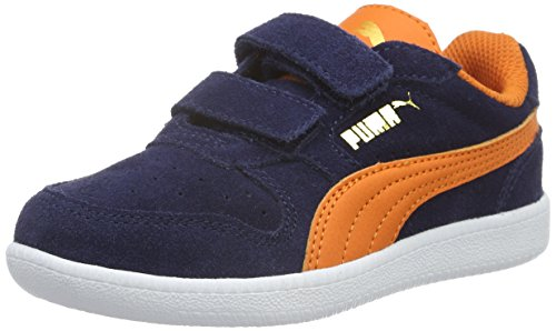 Puma Unisex-Kinder Icra Trainer SD V PS Low-Top, Blau (Peacoat-Vibrant Orange 11), 30 EU