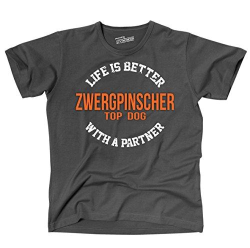 Siviwonder Unisex T-Shirt ZWERGPINSCHER - LIFE IS BETTER PARTNER Hunde Dark Grey